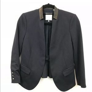 Rebecca Taylor 2 Open Front Blazer Leather Collar